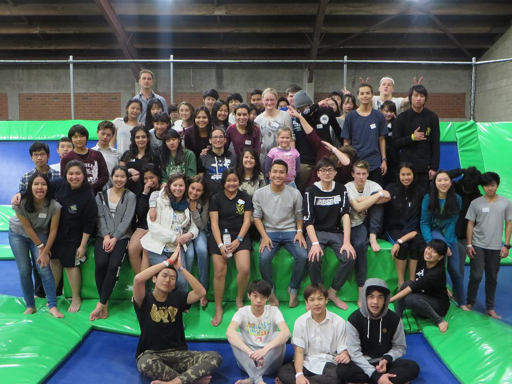 All the participants of the International Social at LEAP trampoline park.