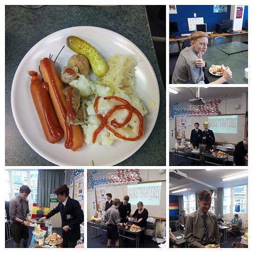 Year 9 German sausage day featuring guest appearances from Tobias and Bruo, international German students.