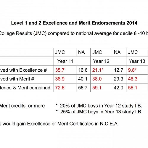Results table comparing our Level 1, 2 and 3 results with the national averages in N.C.E.A. from same decile rating schools