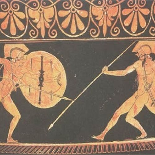 Achilles fights Hector: Athenian Red Figure Vase by the Berlin Painter c.480BCE