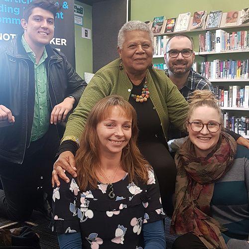 RHS History teachers meet Minniejean Brown: (l-r) Alexander van der Peet, Jo Gordon, Minniejean Brown, Elliott Campbell, Kristi LeCren.