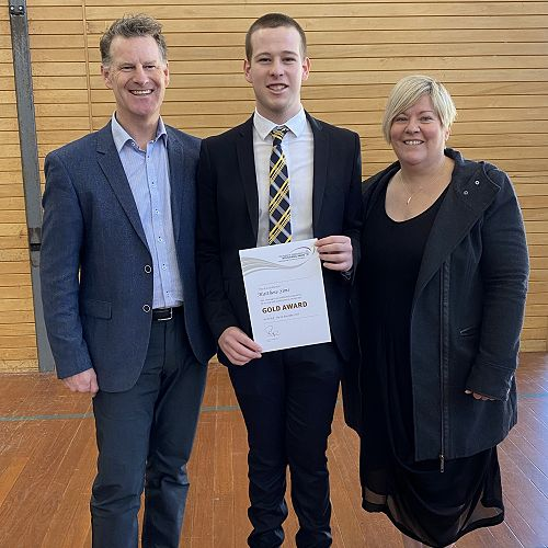 Matt with his proud parents after the awards ceremony