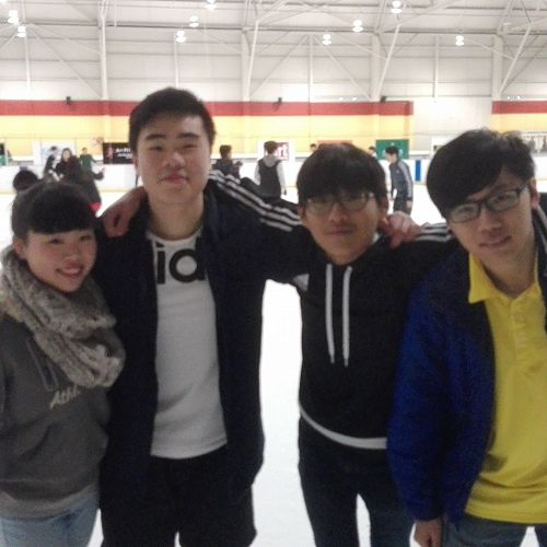 (Left to Right) Shana and Trevor Au (China), Seongwoo Kim (South Korea), Anson Peng (Hong Kong) at the international social.