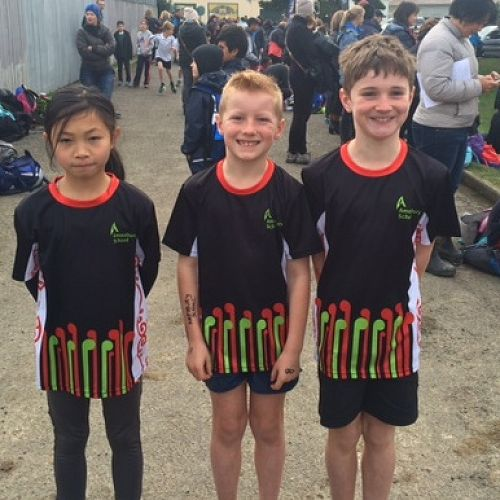 Our fabulous Amesbury runners at Inter-zone cross country: Kate, Cruz, William.