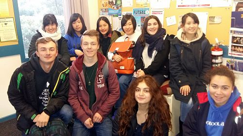 Our international students  getting ready for their trip to Castle Hill.