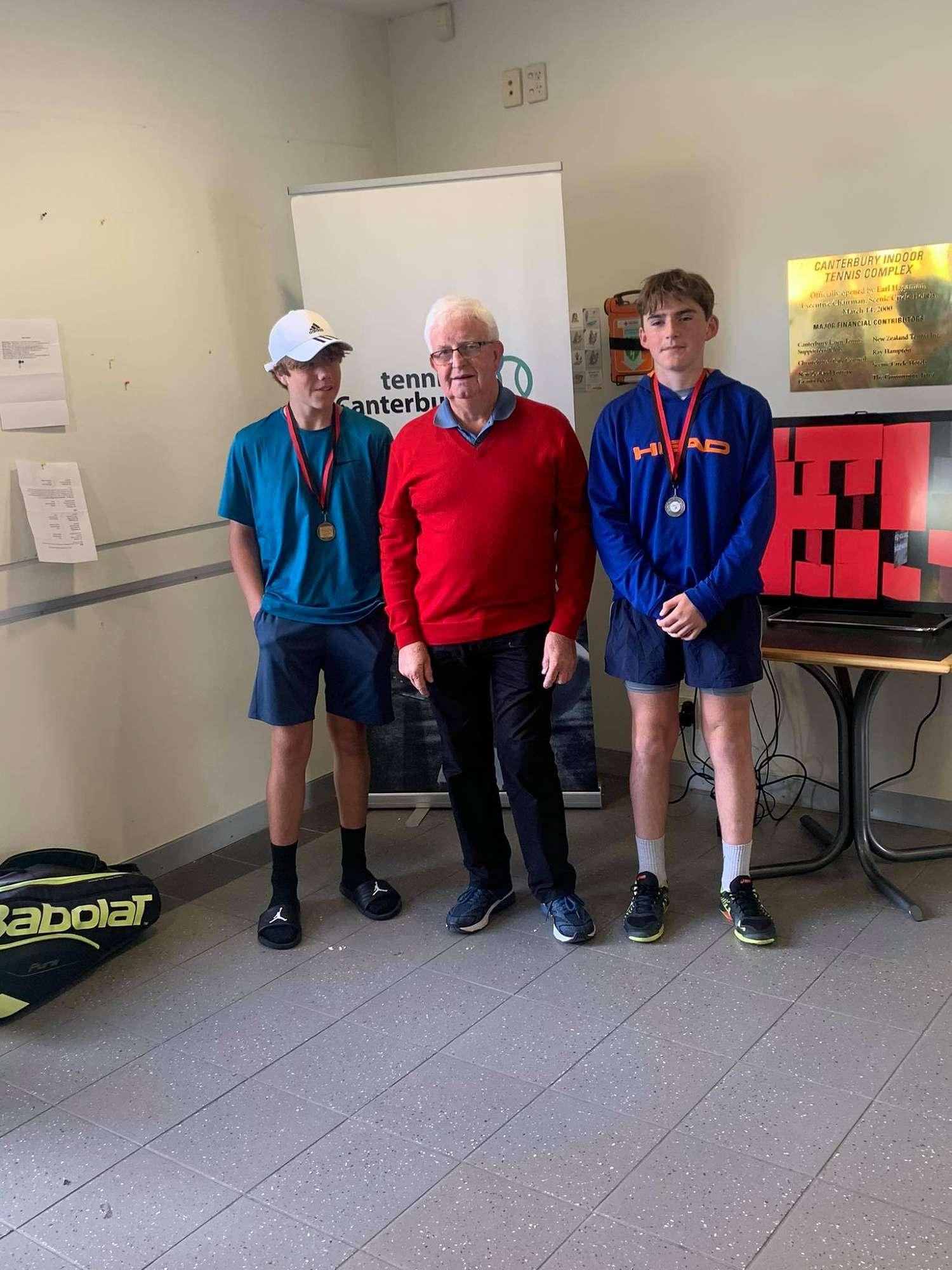 Stanley Vercoe (left) U14 boys Christchurch tennis tournament