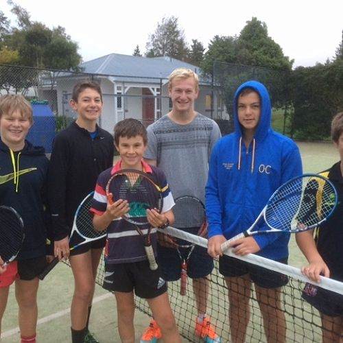 The carrot eating tennis clinic! These guys have been getting into action from 7am right to the end of term.