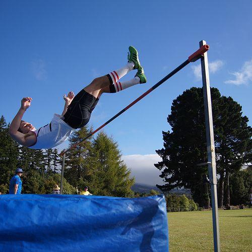 Guillaume Bennani clears the high jump.