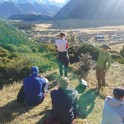 Elicia Milne of DOC talks the boys through the Village. Only another four stops to the top of the Red Tarns
