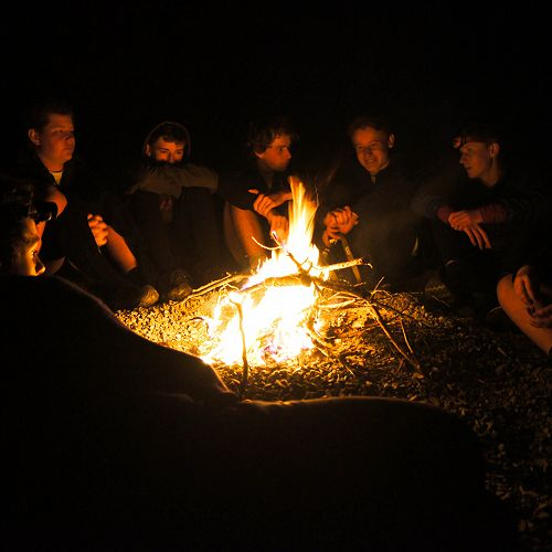 An evening chat by the campfire