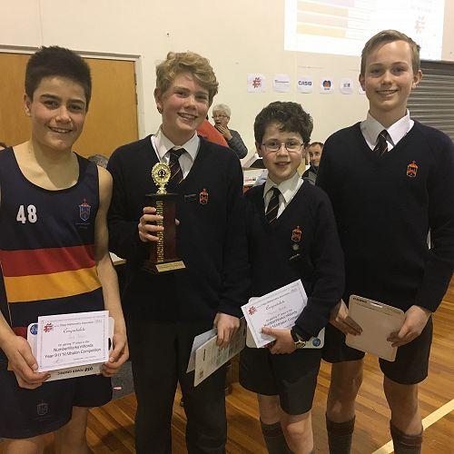Year 9 Winners - Jack Timu,Michael Buttery, Martin Brook and Sam Gradwell