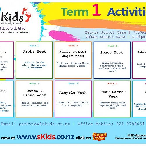 sKids Term 1 activities