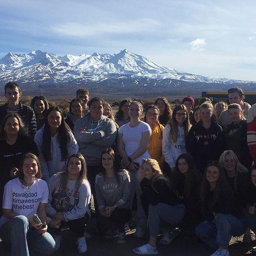 Year 13 Geographers enjoy the vista of Mt Ruapehu en-route to Rotorua.