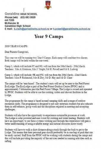 Year 7 Camp info