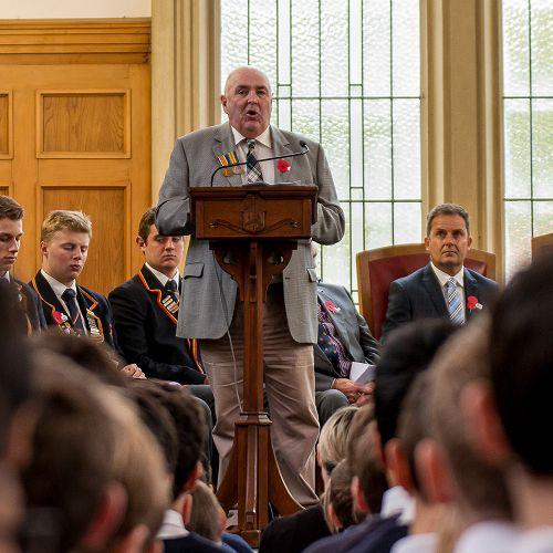 ANZAC 2017; Mr Dennis Aitken addresses the college.