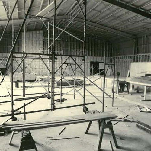 The Hartley Gymnasium under construction in 1961. This was named in honour of the Board of Governors Chairman, Mrs Lilliam Hartley, one of the School's great benefactors.