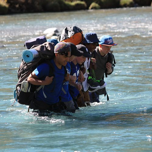 Group 2 finding a deep spot on their river crossing
