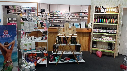 We stock typical pharmacy supplies, giftware and P