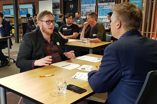 In preparation for his 200-hour industry placement, Mark Cousins interviews with local industry experts during SHIFT's Dunedin 2019 Speed Networking event. Mark is now employed full-time as an IT Technician.