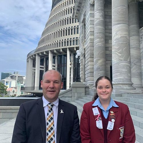 Phoebe Scarsbrook with Andrew Falloon at Parliament