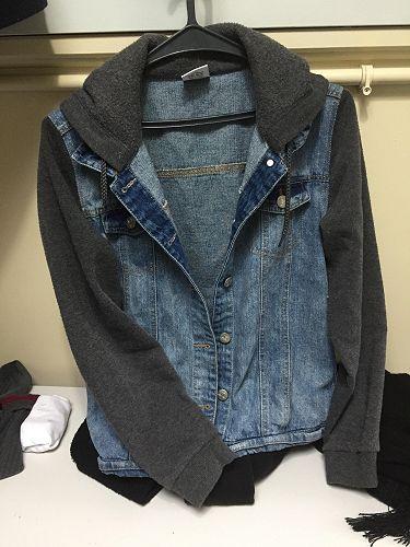 Denim jacket, sweatshirt fabric sleeves and hood