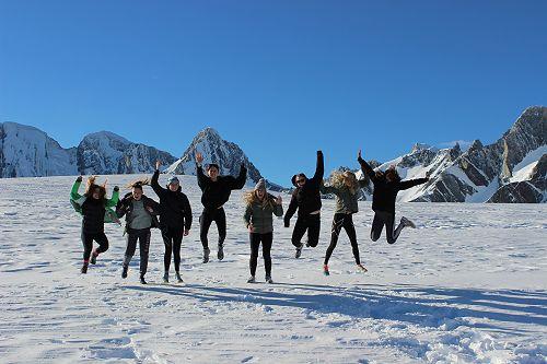 Jumping for joy on the Franz Josef Glacier!
