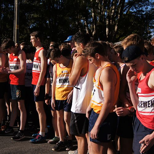 The starting line up of the senior cross country