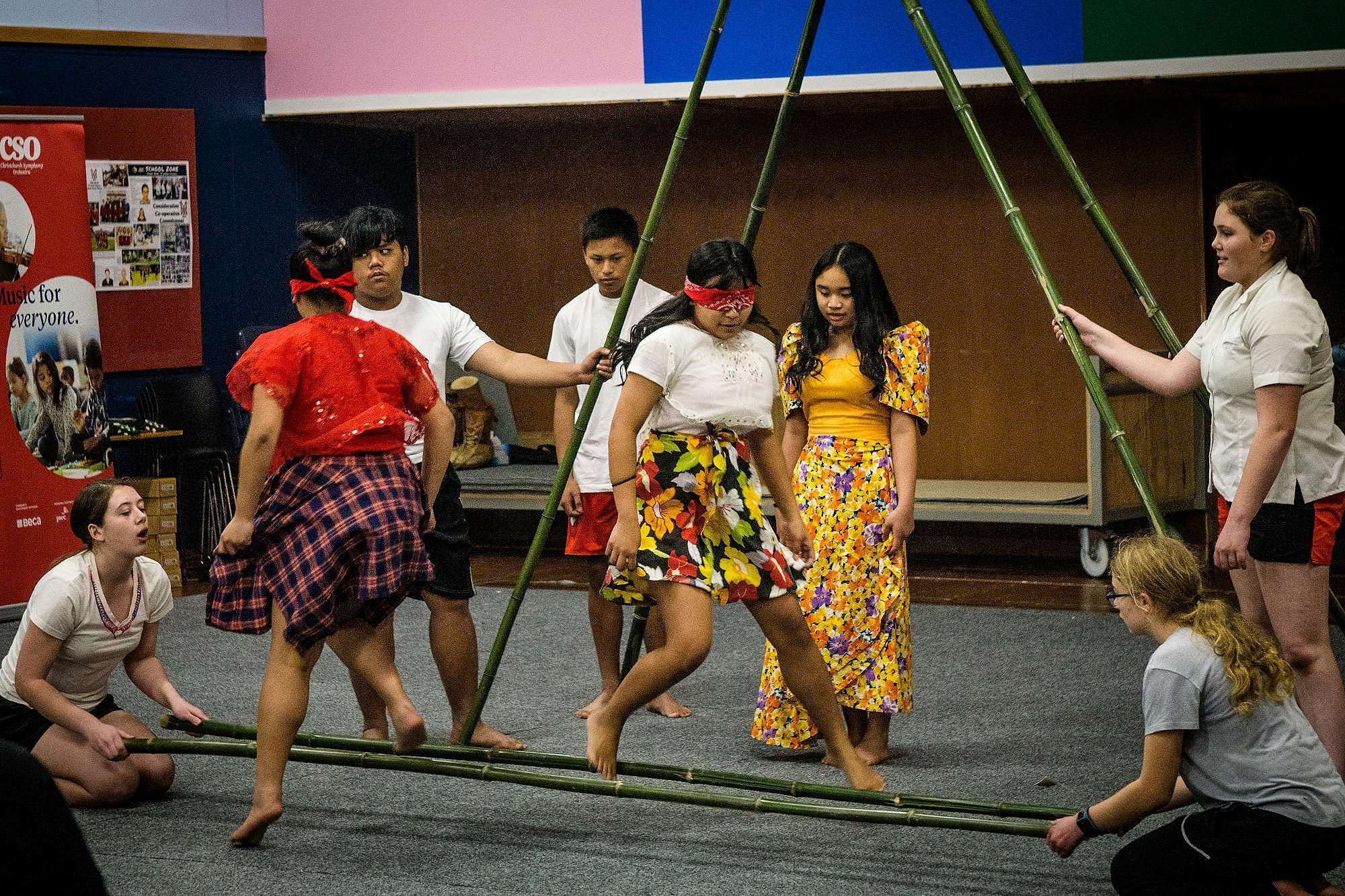Julienne Soliva participating in a Filipino dance at John Paul II.