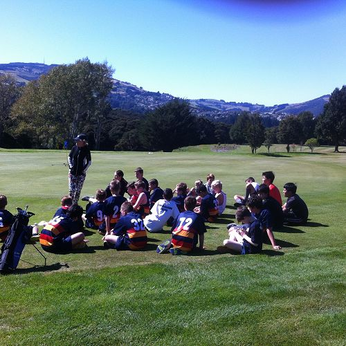 Year 7&8 boys enjoying a golf lesson with Melanie Harper