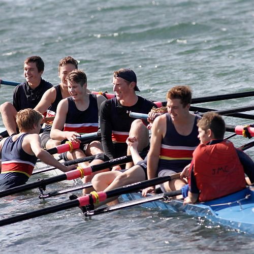 John McGlashan College Rowers celebrate winning the George Thorn Trophy
