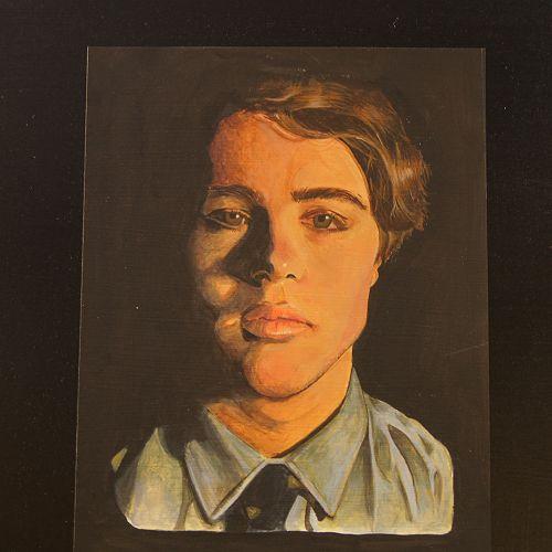 David Schack 'Self Portrait' Acrylic on paper