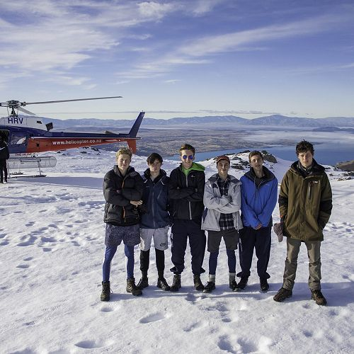 Atop the mountains. Jake Willsman, Sam Taylor, Tyler Wilden, Josef Van Plateringen, Cam Johnstone and Harry Smith on their Helicopter break.