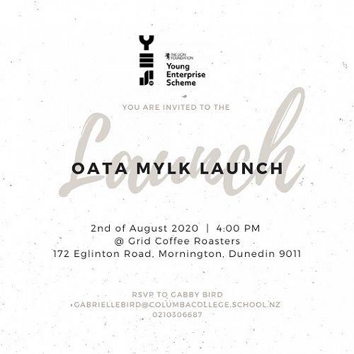 Invitation to Oata Mylk Launch