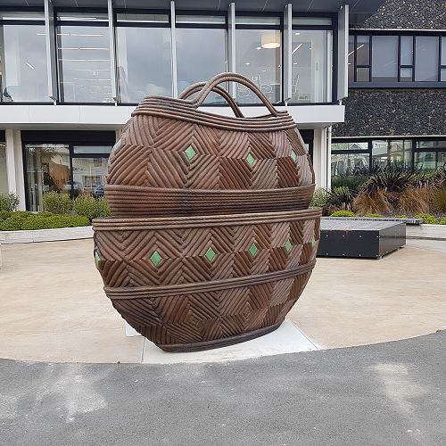 'Nga Kete' in front of the Mason Centre