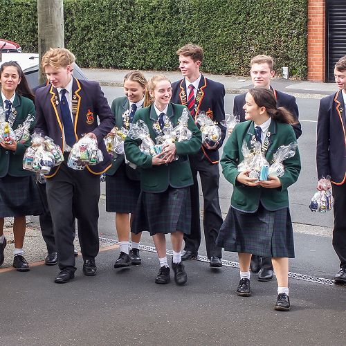 Columba and John McGlashan Prefects ready to deliver the wonderful Easter baskets