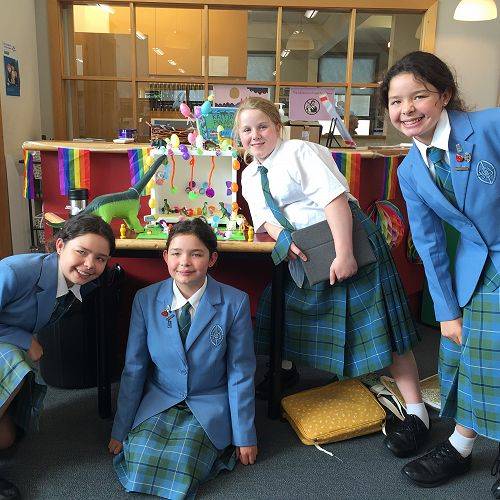 Olivia Kelly, Charlotte Kelly, Ella Catherine Wither and Haylee Kelly with their display