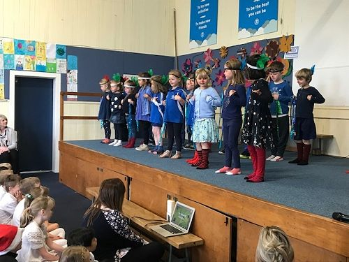 The Room 12 Pukeko stomping at our Christmas concert.