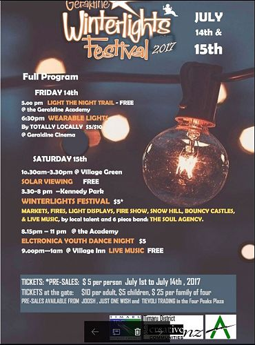 The Geraldine Winterlights Festival 2017 Programme
