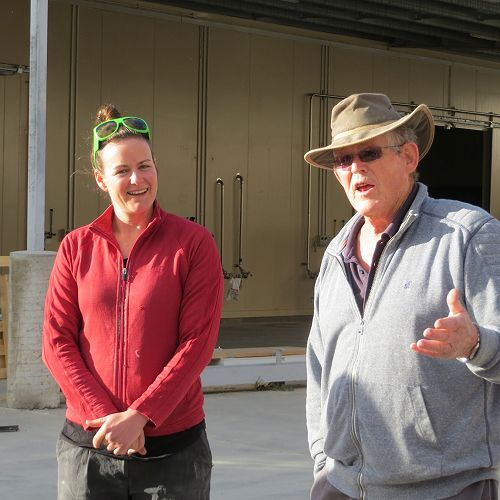 Head winemaker, Zoe and owner, Robin Dicey...