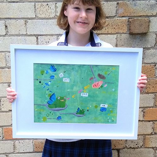 Sienna Burns with her painting 'Frog'