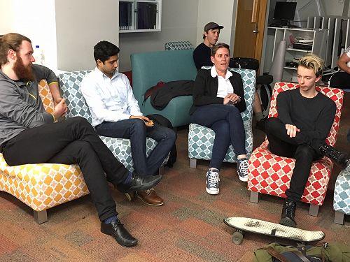 Kirio, AJ, Dion, Rebecca speaking and Finn.