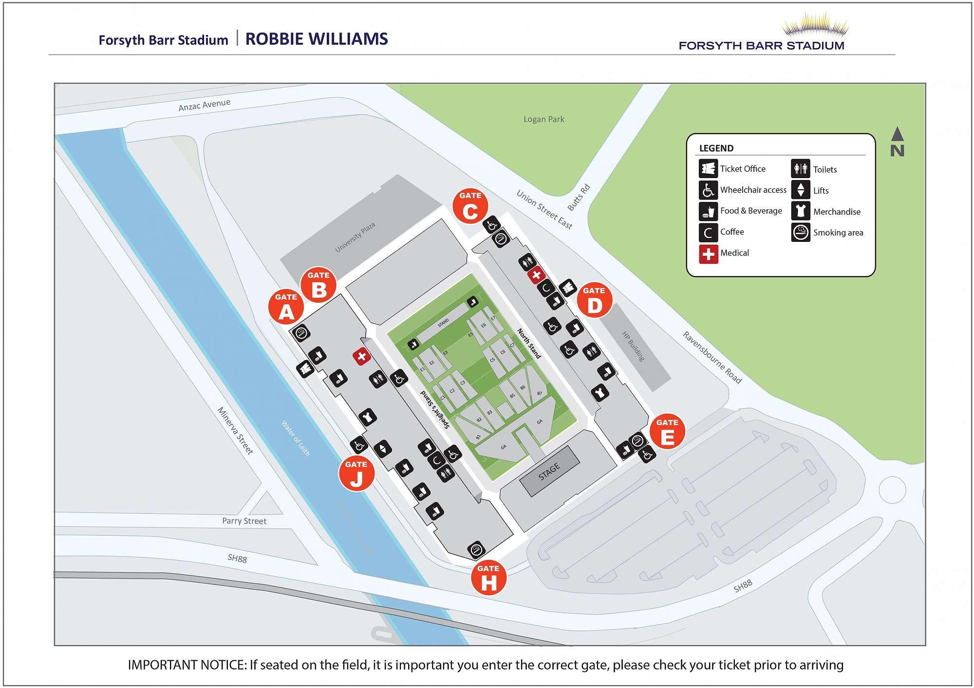 Map of Stadium - Robbie Williams