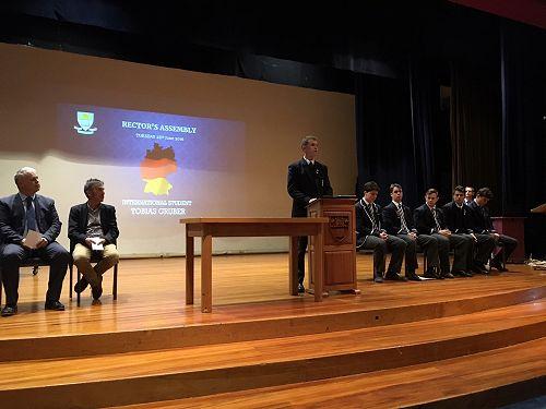 Tobias addresses Senior Assembly