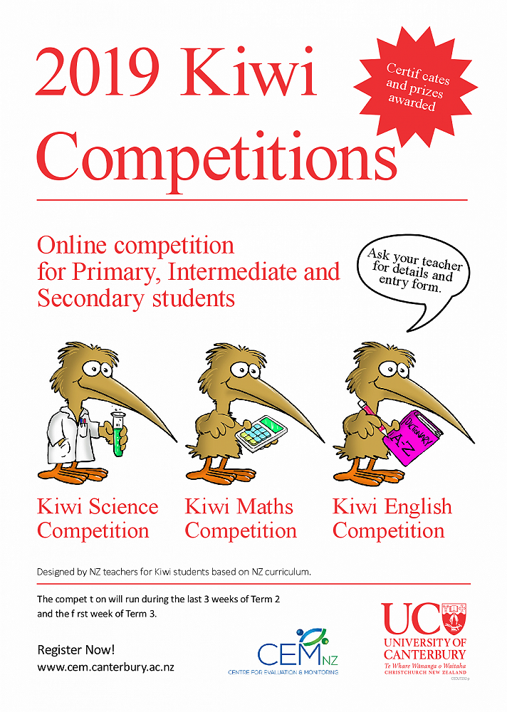 The Great Kiwi English, Mathematics and Science competitions are