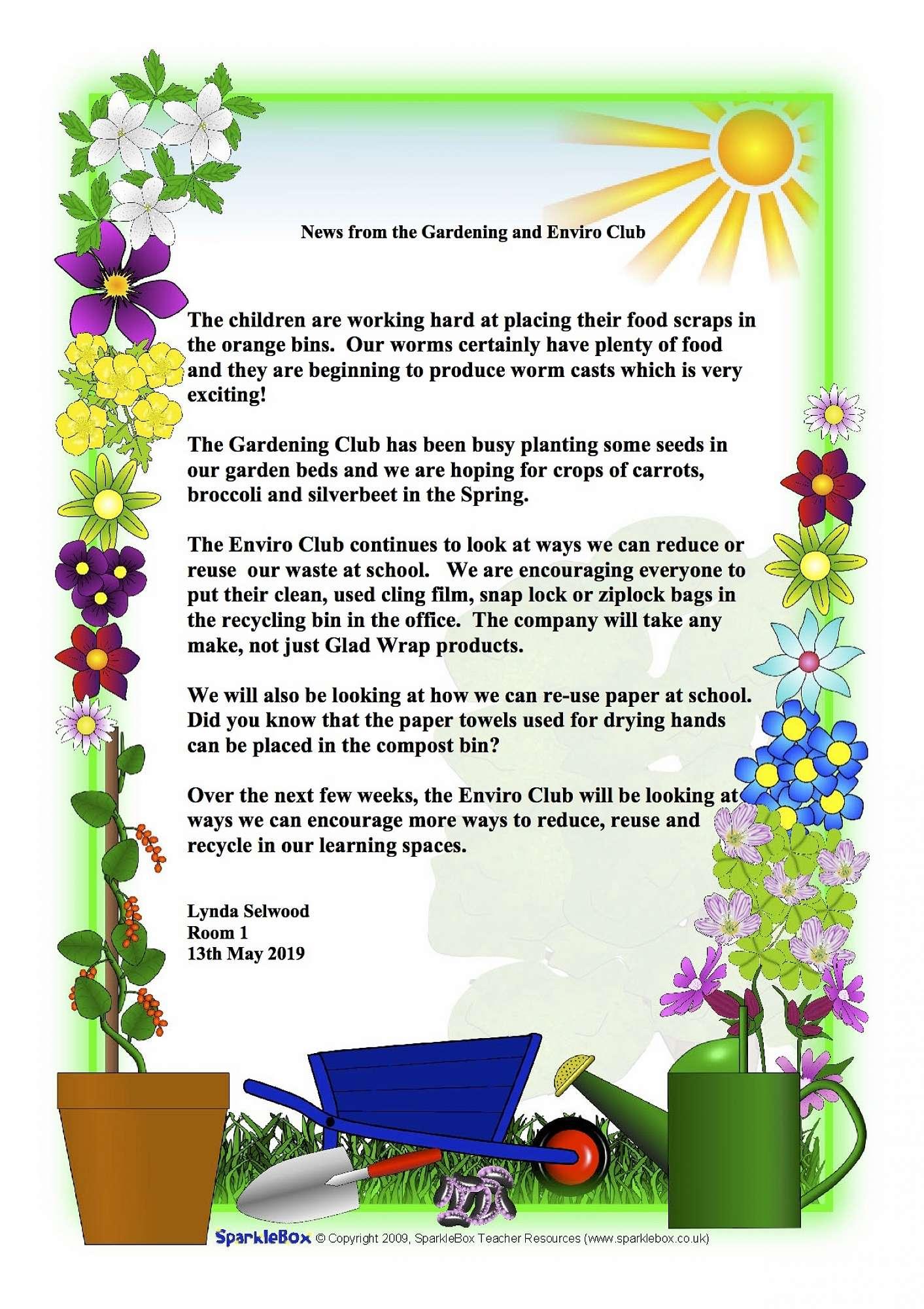 Garden Club and Enviro Club update