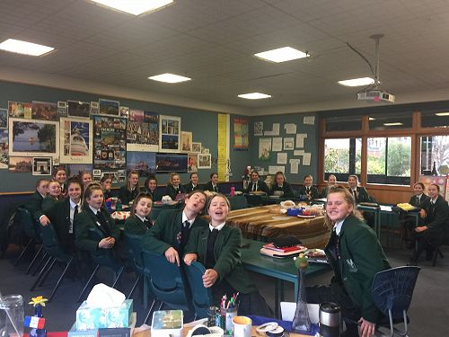Year 9's before their Bastille day feast!