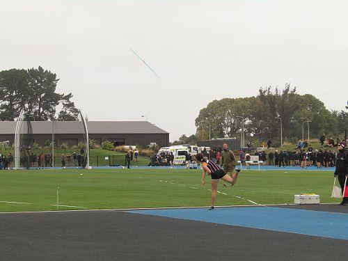 Karen McDonald winning the Under 14 javelin