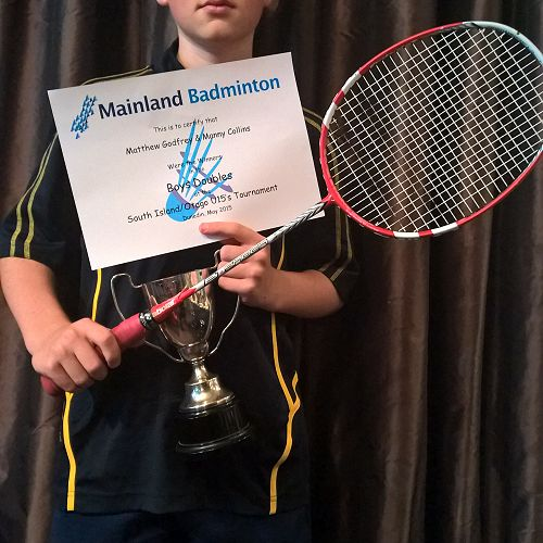 Matthew Godfrey - winner of the Boy's Doubles at the South Island/ Otago U15's Tournament