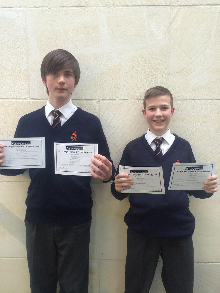 Alex Dodson and Bruno Marsh at the Otago Science Fair Prize-giving