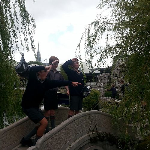 Year 9 Drama students exploring the Dunedin Chinese Garden